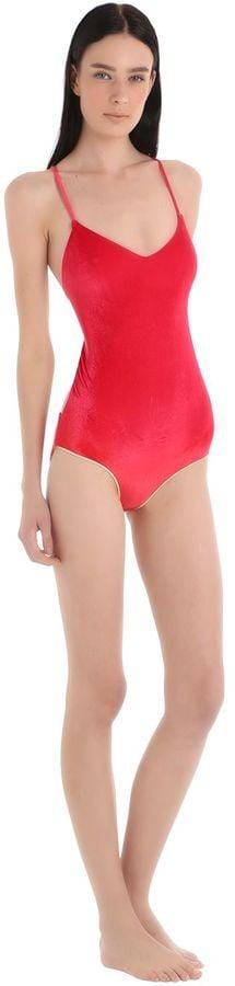 Cassis Velvet Lace-Up Swimsuit