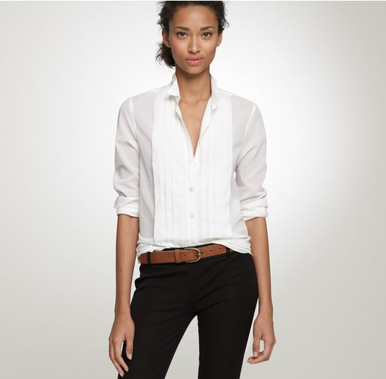 An investment that will last a lifetime.   J.Crew Tuxedo Shirt in Thomas Mason Fabric ($150)