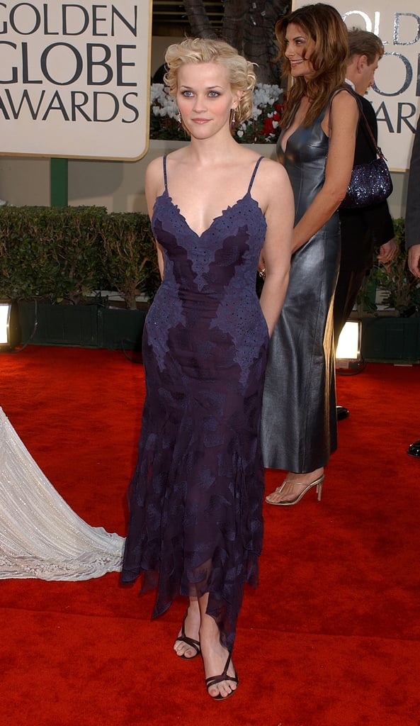 For the 2002 Golden Globe Awards, Reese chose an eggplant-colored slipdress for the red carpet, and her choice totally reminded us of something altogether boudoir-inspired.
