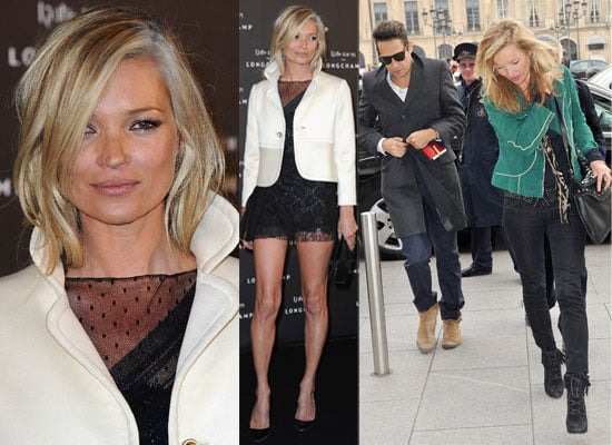 Photos of Kate Moss and Jamie Hince Out in Paris Casual During the Day and at Longchamp Bag Launch