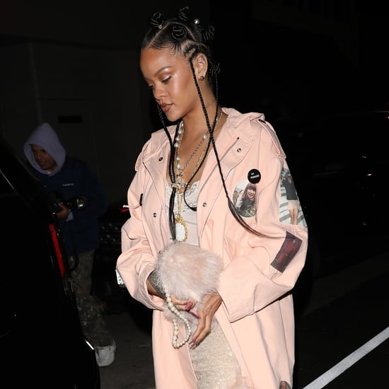 Rihanna Wears A$AP Rocky's Necklace With Her Raf Simons Coat