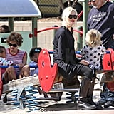 Gwen Stefani watched her sons Zuma and Kingston play at an LA park.