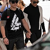 Jennifer Lopez and beau Casper Smart walked hand in hand in Miami.