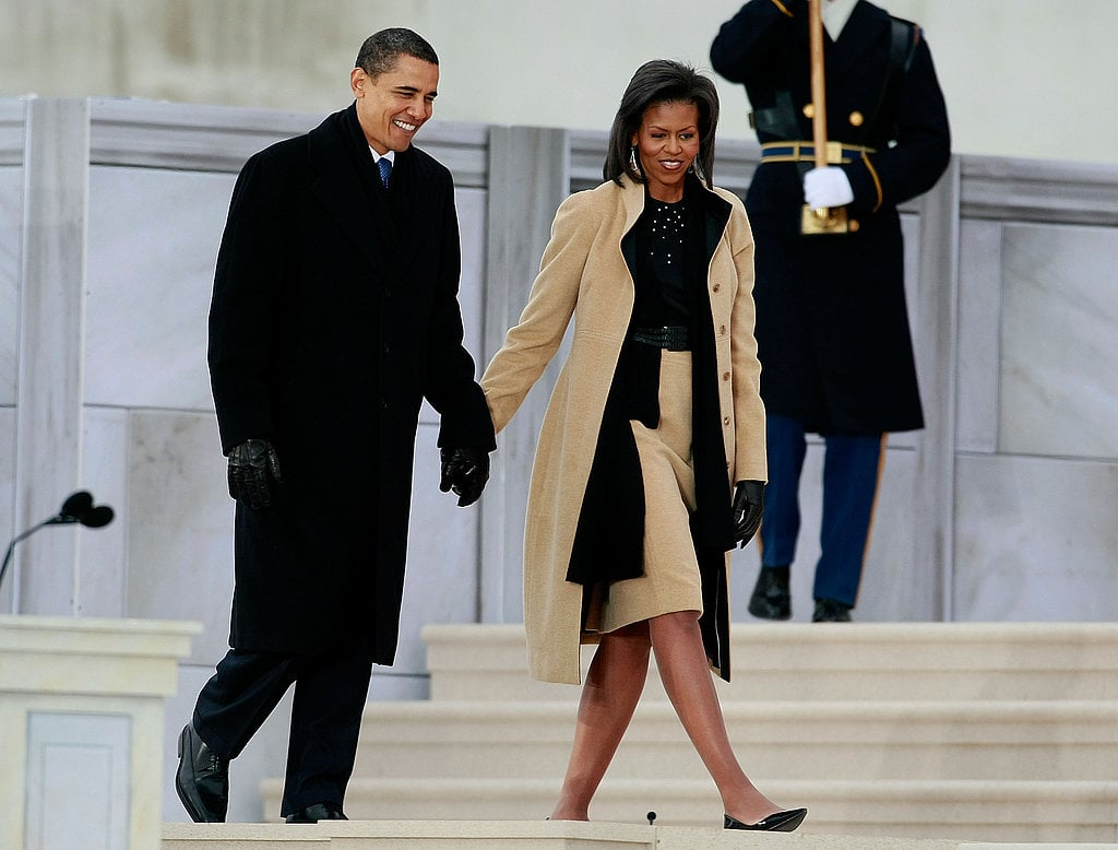 Michelle chose a Narciso Rodriguez black-and-camel coat and separates combo for the We Are One concert in early January 2009. She added gorgeous Loree Rodkin chandelier earrings, too.