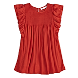 Ruffle Smocked Swing Top in Red