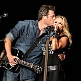 Blake Shelton and Miranda Lambert shared PDA while performing at Stagecoach in April.