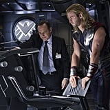 Clark Gregg as Agent Coulson and Chris Hemsworth as Thor in The Avengers.  Photo courtesy of Disney