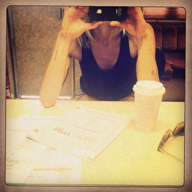 Eliza Coupe waited for a Happy Endings table read. Source: Instagram user elizamuthafuckincoupe