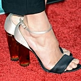 A pair of silver and black Stella McCartney heels gave Shailene Woodley's menswear-inspired ensemble a hint of sex appeal.