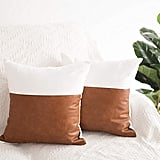 Faux Leather Cotton Throw Pillow Covers