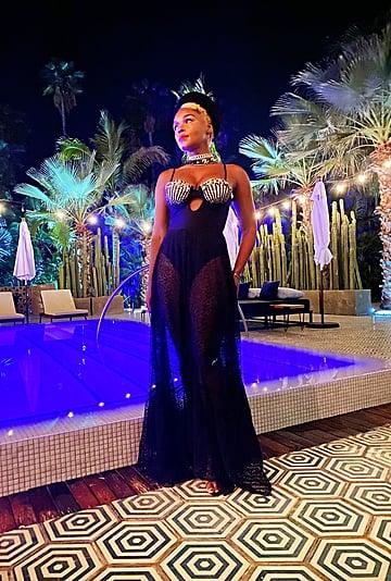 Janelle Monáe Wears a Seashell PatBO Dress on Vacation