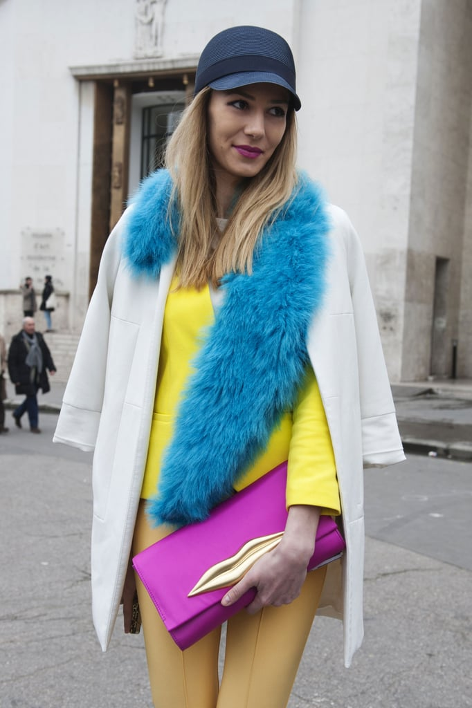 The range of brights in this attendee's look caught our attention outside the shows.