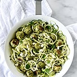 Zucchini Noodles With Chicken, Feta, and Spinach Meatballs