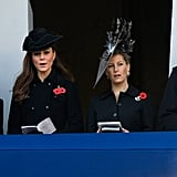 Camilla Parker Bowles, Kate Middleton, and Sophie Rhys-Jones all wore black on Remembrance day, while Prince Edward was in uniform.