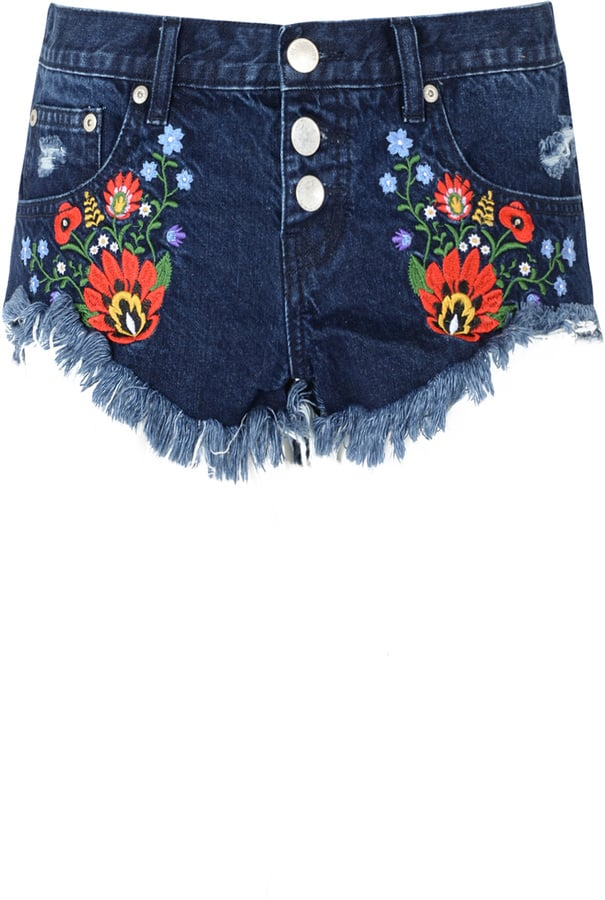 Glamorous Floral Embroidered Denim Shorts (£29)
