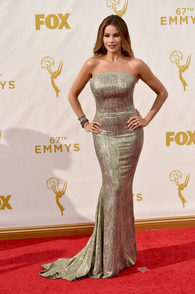 Sofia Vergara Shimmers in Silver on the Emmys Red Carpet