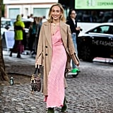 Fall Outfit Idea: Tan Jacket + Pink Maxi Dress