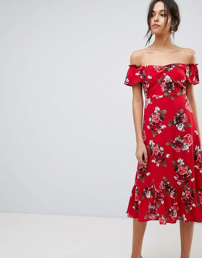 Yas Floral Off Shoulder Midi Dress With Ruffle Hem Wedding Guest
