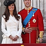 The 2011 festivities marked the first time Prince William wore the Irish Guards uniform after their nuptials.