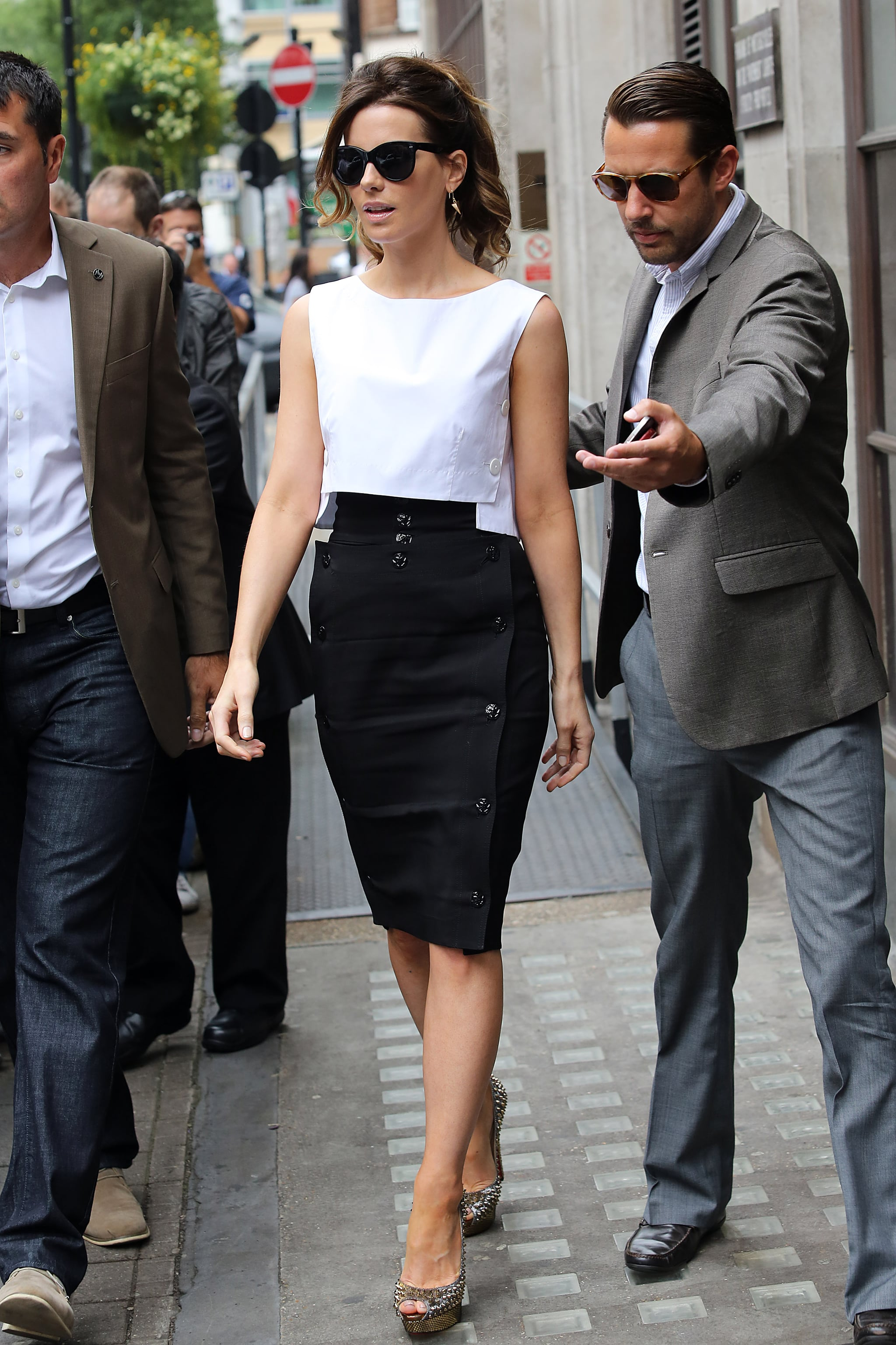 Kate Beckinsale wore a black and white dress out in London.