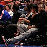 Beyonce Knowles and Jay-Z checked out a game.