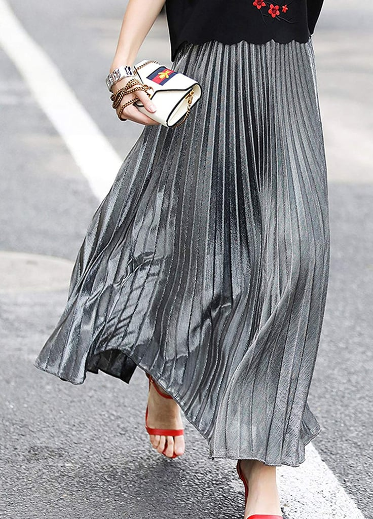 Chartou Metallic Shiny Pleated Skirt
