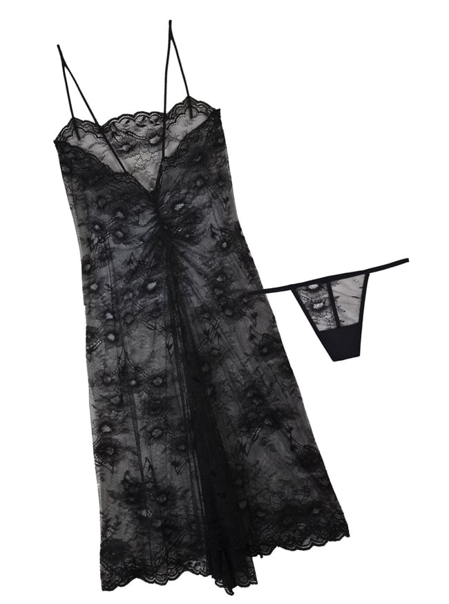 Cosabella Blanquita Black Lace Slip