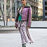 Winter Outfit Idea: A Metallic Puffer and Printed Dress