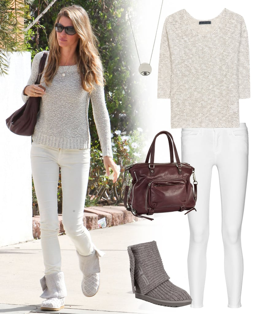 8c8f6858936f0 Gisele Bundchen White Jeans and Sweater Style