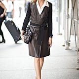 Hack: A leather trench in black and brown speaks right to the season. On a warmer day, complete it with your strappy heels and dark sunglasses.