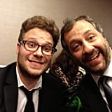 Judd Apatow hung out with frequent collaborator Seth Rogen. Source: Twitter user JuddApatow