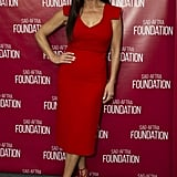 Catherine wore a bright red midi dress when she attended the screening of Cocaine Godmother in LA.