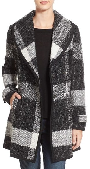 Guess Shawl Collar Plaid Coat ($180)