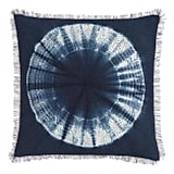 Indigo Blue Shibori Sunburst Throw Pillow