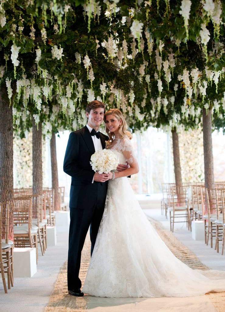 For her October 2009 wedding, Ivanka Trump wore a stunning custom Vera Wang lace-sleeved gown, inspired by and modeled after Grace Kelly's wedding dress.