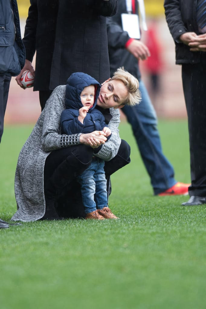 Princess Charlene Brings One of Her Supercute Twins to a Monaco Rugby Match