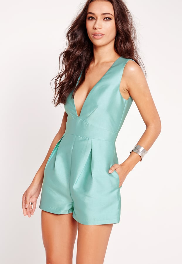 bc5f1fba69 Missguided Satin Sleeveless Playsuit Green (£35)