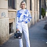 With a Tie-Dye Sweater and Embellished Heels
