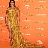 Pictured: Beyoncé at The Lion King premiere in London.