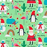 Santa and Friends on Green Jumbo Christmas Wrapping Paper Roll