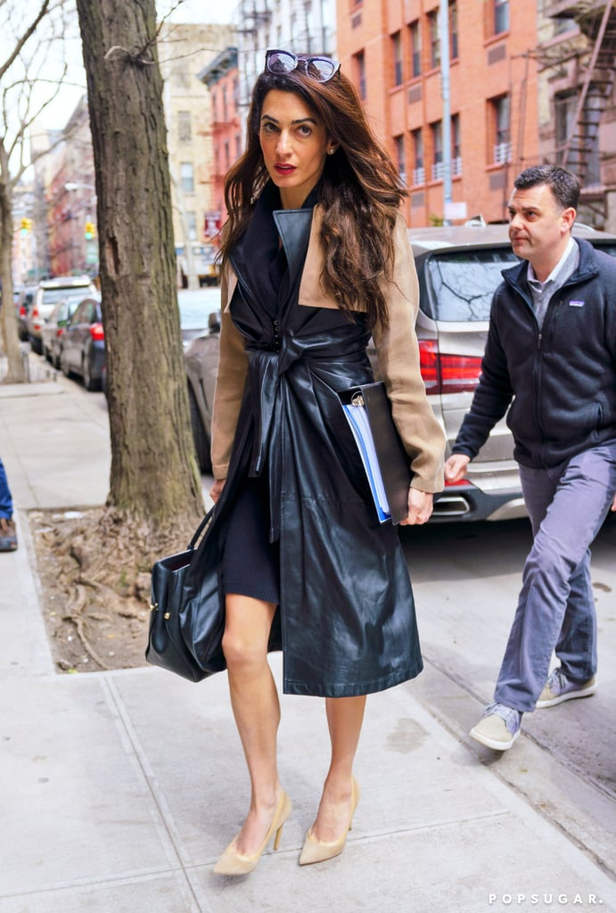 Amal Clooney Alexander Wang Leather Trench Coat | POPSUGAR Fashion
