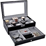 Watch Box Black Leather Watch Display Box