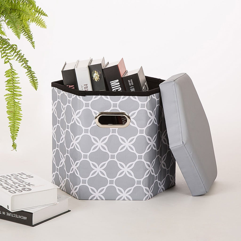 Gray Lattice 6-Sided Foldable Storage Ottoman