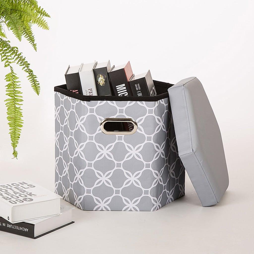 Gray Lattice Six-Sided Foldable Storage Ottoman