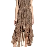 1.STATE Leopard Split Collar High/Low Maxi Dress
