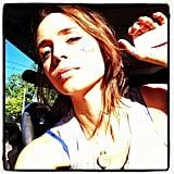 "Eliza Dushku wore her ""I Voted"" sticker on her cheek.  Source: Instagram user elizadushku"