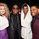 Pictured: Tori Kelly, Stevie Wonder, Jennifer Hudson, and Anthony Anderson