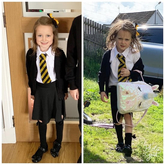 Girl's Before and After First Day of School Photo