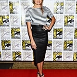 Nikki Reed highlighted her svelte form in a slick black leather Robert Rodriguez pencil skirt, then paired it with a striped Lady & the Sailor t-shirt and black Tibi sandals.