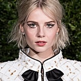 Lucy Boynton's Negative-Space Winged Liner, 2019